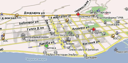 карта сухуми абхазия